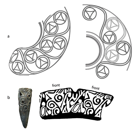 Drawing of designs on artifacts
